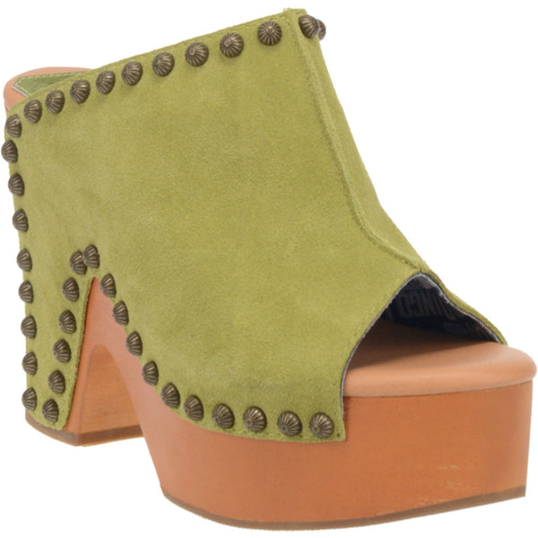 Dingo Lime Suede Studded Cuban Heel Slip On - Dudes Boutique