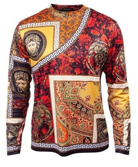 Prestige Fire Red Medusa Multi-color L/S Shirt - Dudes Boutique