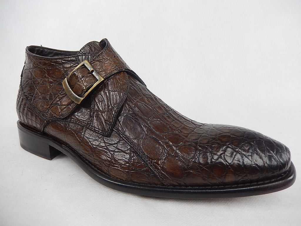 Calzoleria Toscana All Over Crocodile Monk Strap Shoes - Dudes Boutique