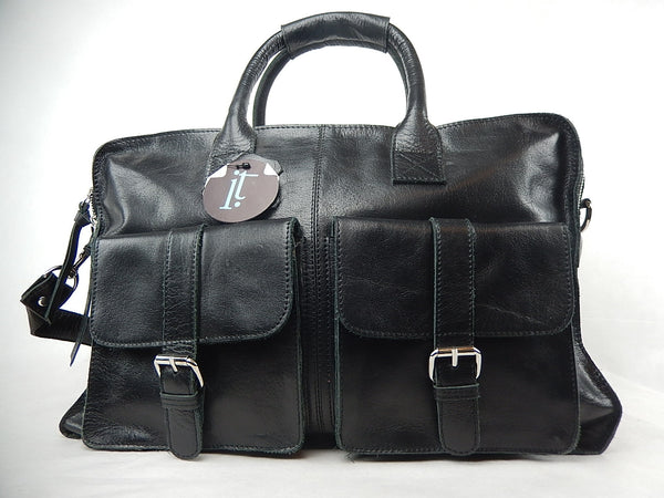 Iristyler Black Cowhide Travel Bag - Dudes Boutique - 1