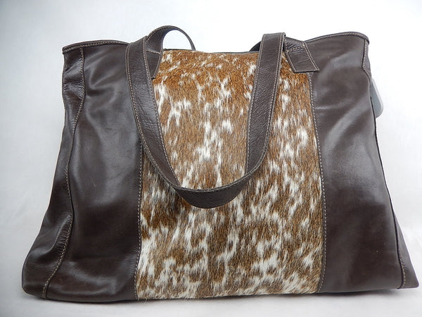 Charlie Leather Co. Brown Leather Pony Hair Bag - Dudes Boutique