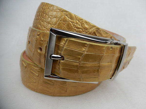 Safari Gold Croodile Belt - Dudes Boutique - 1