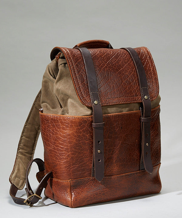 Coronado Leather Bison Redwood Backpack - Dudes Boutique