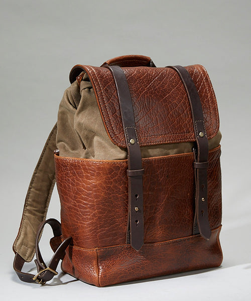 Coronado Leather Bison Redwood Backpack