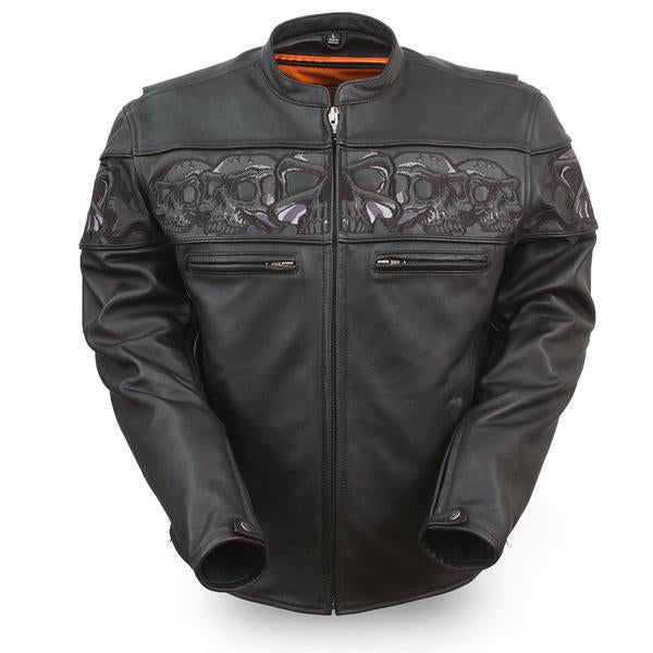 FMC Savage Skulls Men's Sporty Black Leather Motorcycle Jacket With Reflective Skulls