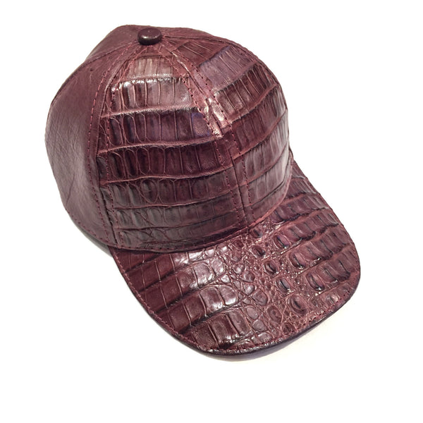 Safari Wine Alligator/Ostrich Quill Strap back Hat
