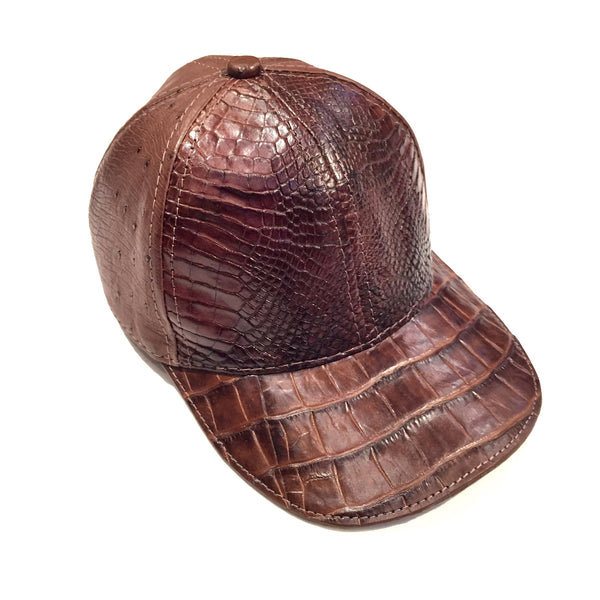 Safari Brown Alligator/Ostrich Quill Strap back Hat