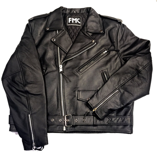 First Manufacturing Co. 'Superstar' Black Leather Racing Biker Jacket - Dudes Boutique