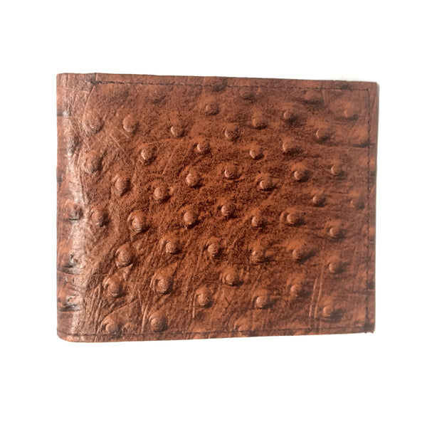 Leather Impressions Ostrich Belly Print Leather Bi-fold Wallet - Dudes Boutique