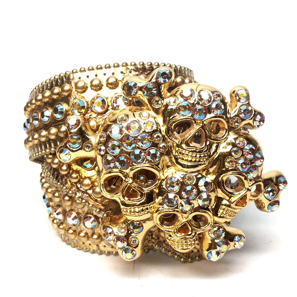 "B.B. Simon "" Golden Cranium"" Swarovski Crystal Belt - Dudes Boutique"