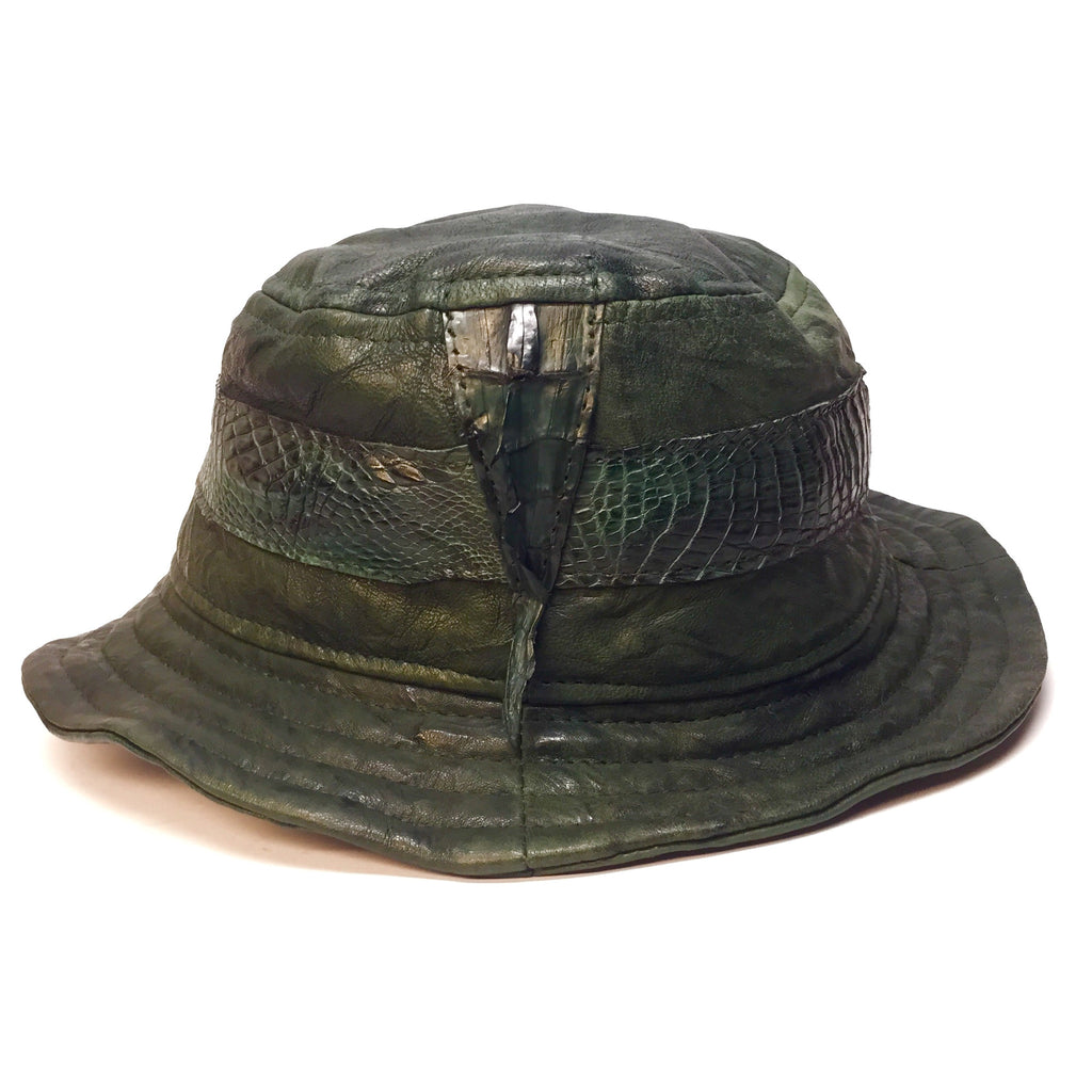 G-Gator Forest Green Lambskin/Crocodile Tail Bucket Hat - Dudes Boutique