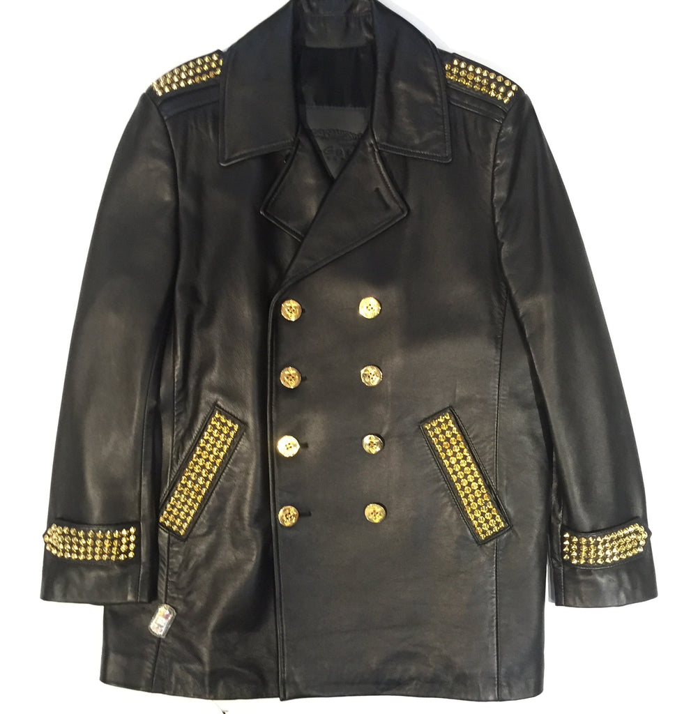G-Gator - Studded Double-Breasted Leather Jacket - Dudes Boutique