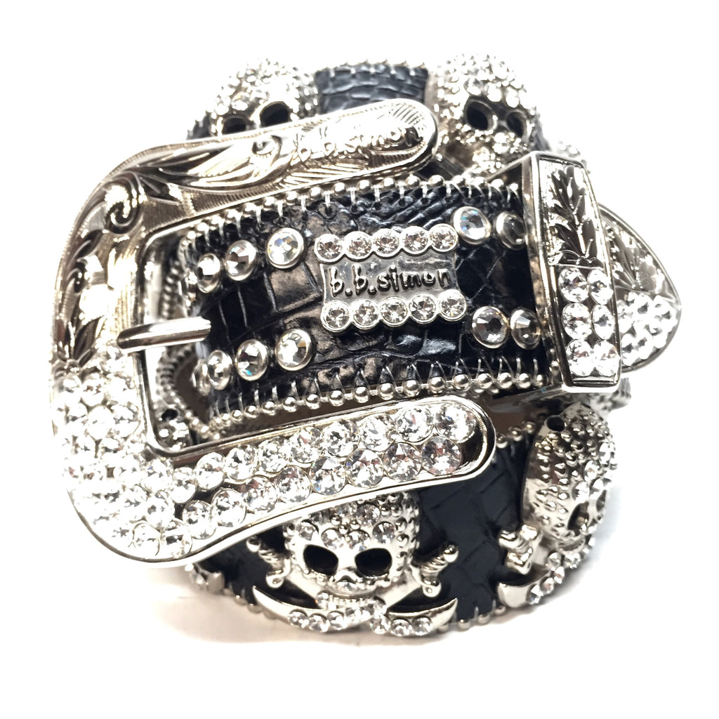 "b.b. Simon - ""Jolly Roger"" 2-Row Swarovski Crystal Belt - Dudes Boutique"