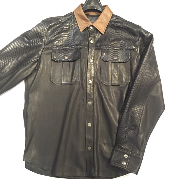 G-Gator Lambskin/Python Button-Up Shirt - Dudes Boutique - 1