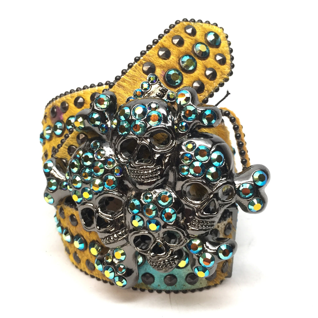 "B.B. Simon ""Golden Skull"" Swarovski Crystal Belt - Dudes Boutique"