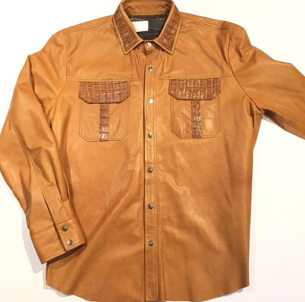 G-Gator - Lambskin Button-Up Shirt w/ Gator Pockets - Dudes Boutique