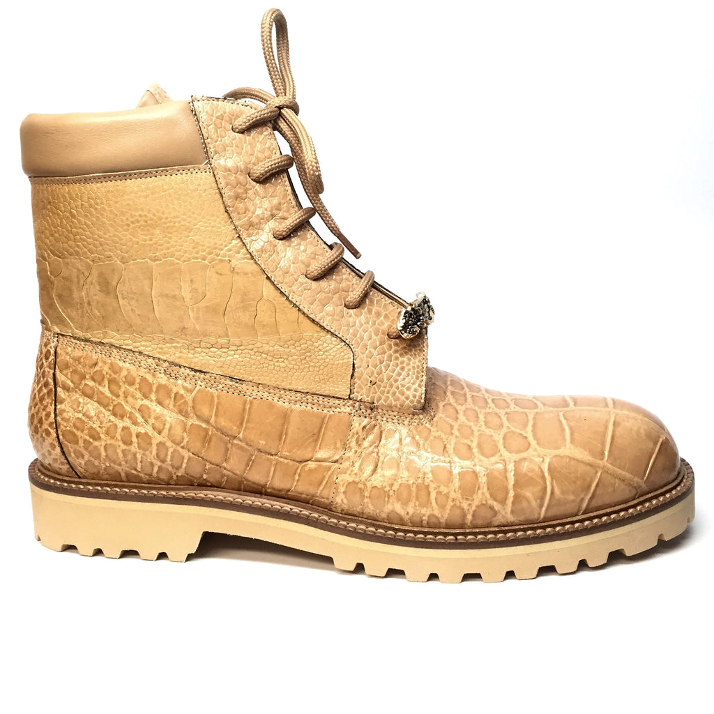 "Mauri ""Commando"" Alligator/Ostrich Leg Combat Boot 4637 - Dudes Boutique - 4"