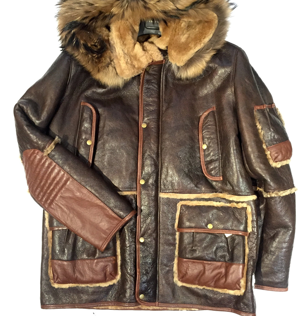 Jakewood Chocolate Shearling with Fox Collar - Dudes Boutique - 1