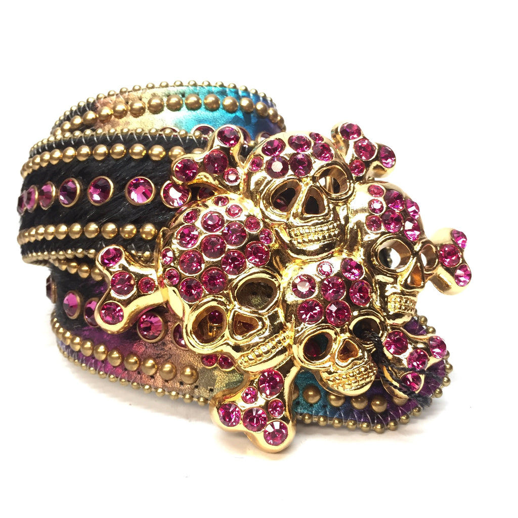 B.B. Simon Multicolor Skull Studded Crystal Belt - Dudes Boutique