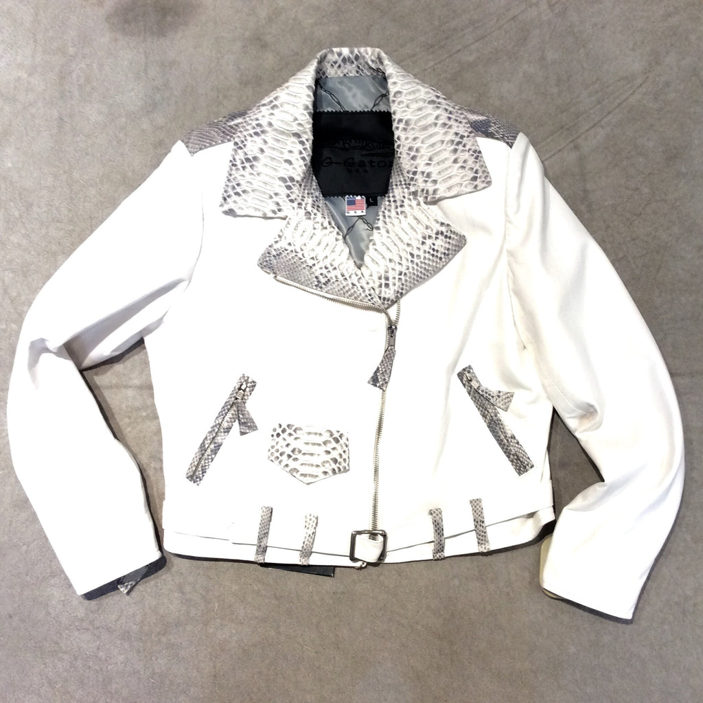 G-Gator 1033 White Python and Lamb Skin Biker Jacket