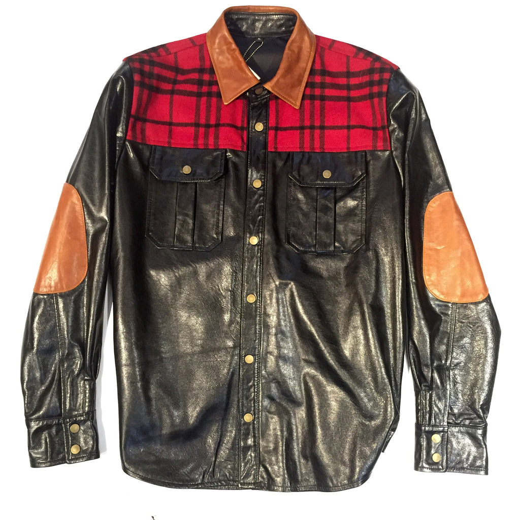 G-Gator Plaid Leather Shirt 25 - Dudes Boutique - 1