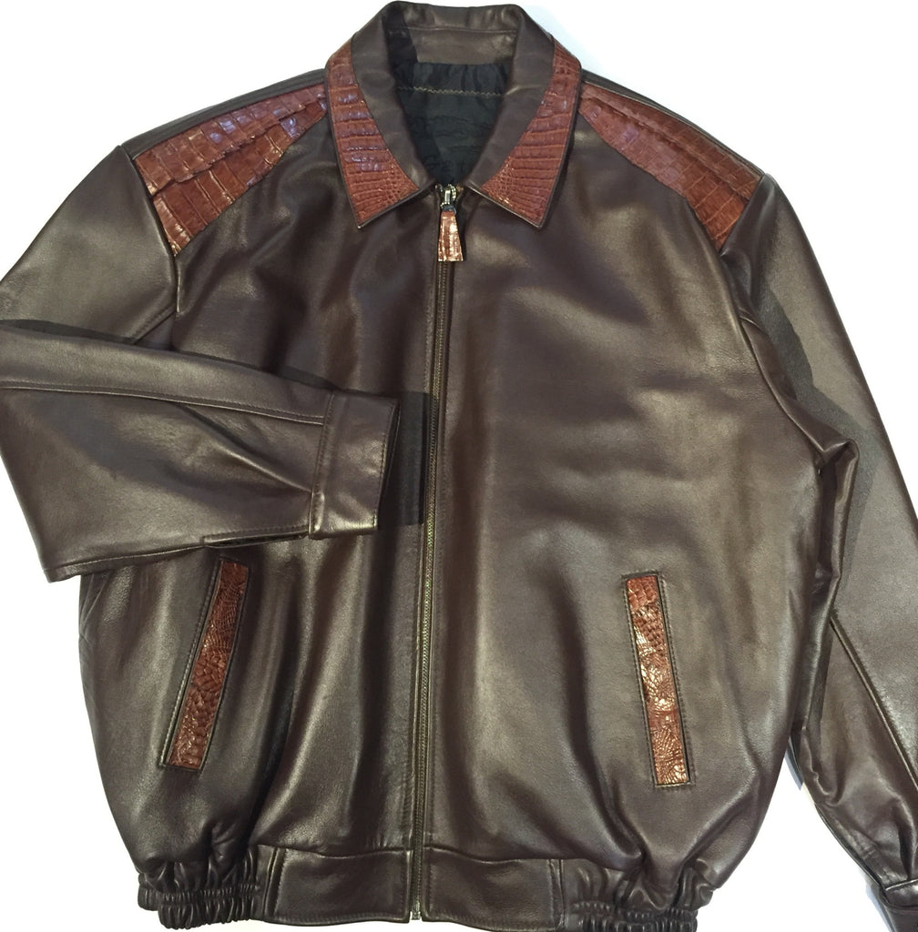 G-Gator - 3001 Chocolate Alligator/Lamb Bomber Jacket - Dudes Boutique