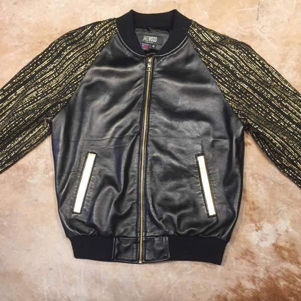Jakewood Gold Gloss Sleek Bomber Jacket