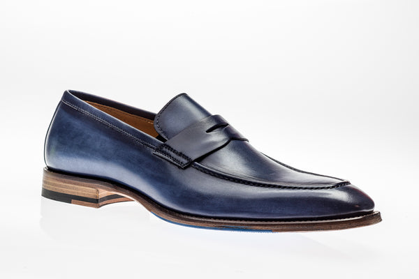 Jose Real Vitelo Deep Blue Leather Penny Loafers