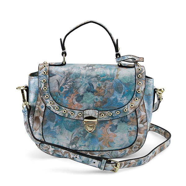 L'ARTISTE Blue Multi Floral Garden Metallic Gold Studded Hand Bag - Dudes Boutique