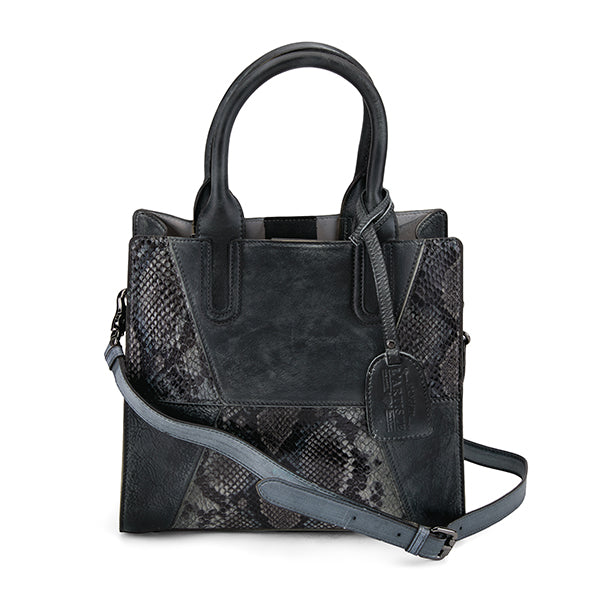 L'ARTISTE Ladies Black Multi Embossed Python Hand Bag