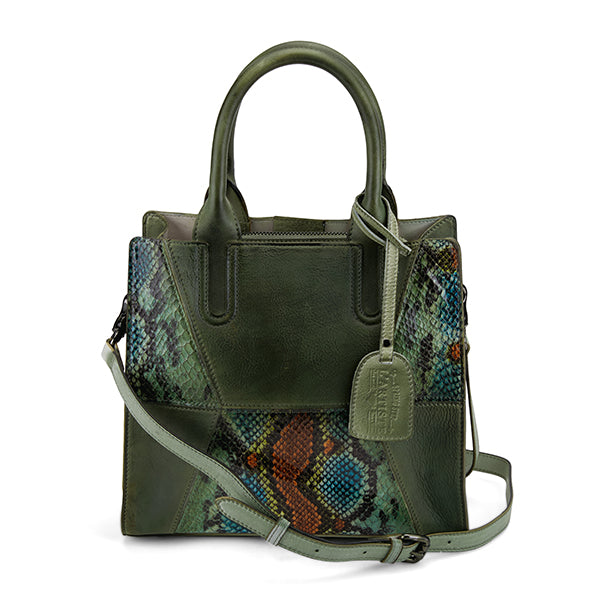 L'ARTISTE Ladies Olive Multi Embossed Python Hand Bag