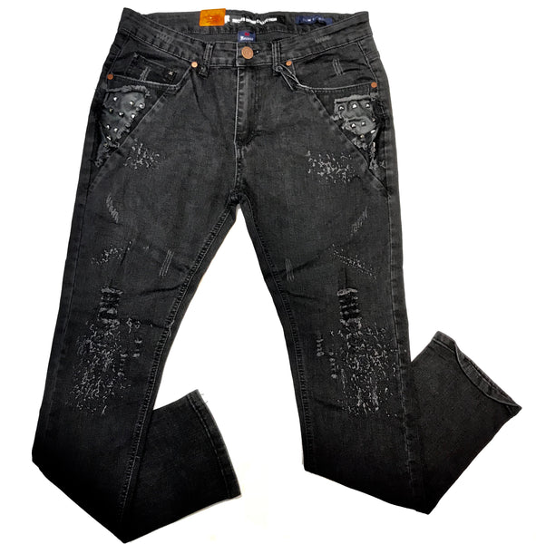 Recess Black Studded Distressed Denim Jeans