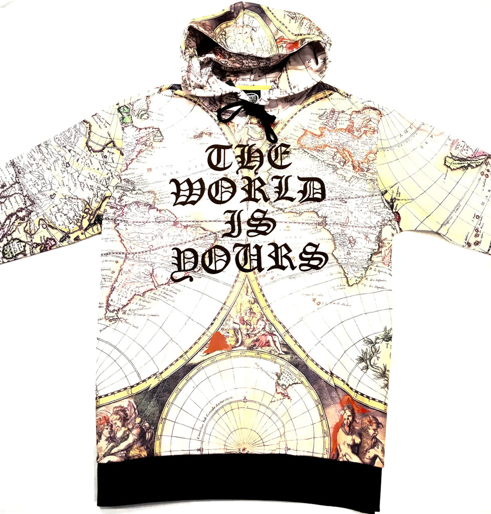Worthy 'The World Is Yours' Old English Atlas Hoodie