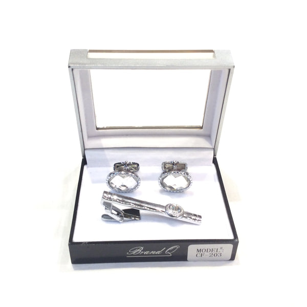 Diamond Cut Crystal Cuff Links + Tie Bar