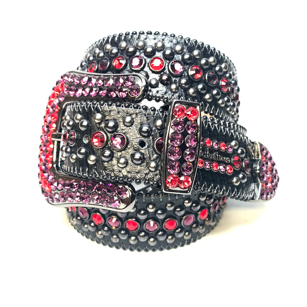b.b. Simon Red Purple Fully Loaded Swarovski Crystal Belt