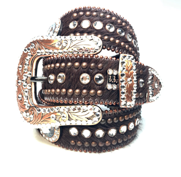 b.b. Simon Brown Bronze Studded Pony Swarovski Crystal Belt