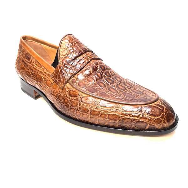 Mauri 4862 Brown Alligator Body Penny Loafers - Dudes Boutique