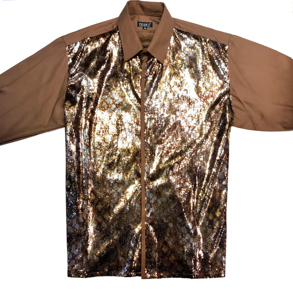 Pronti Men's Caffe Sequin Dress Shirt - Dudes Boutique