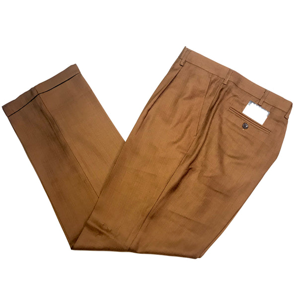 Pronti Caffe Brown Pleated Trousers - Dudes Boutique