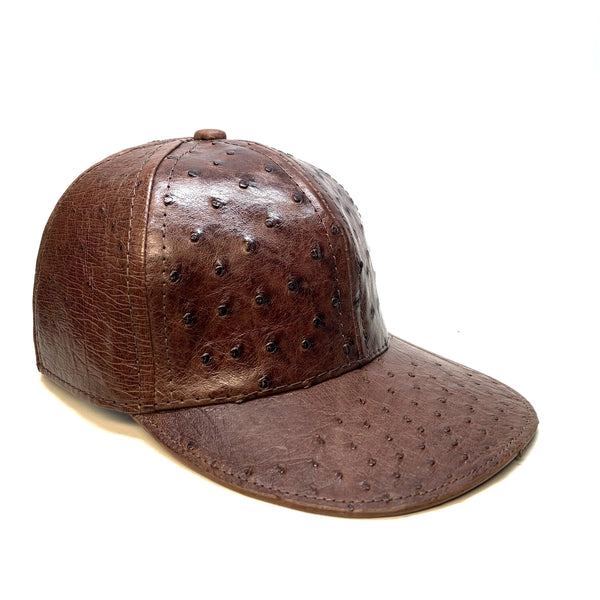 Kashani Ostrich Quill Chocolate Brown Strap-back Hat