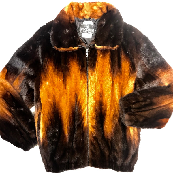 Kashani Cognac Full Mink Fur Coat