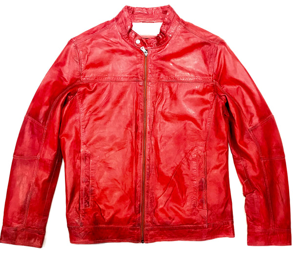 Missani Le Collezioni Men's Red Lambskin Leather Jacket