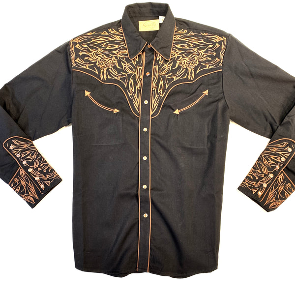 Scully Western Longhorn Bull Long Sleeve Shirt - Dudes Boutique