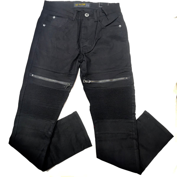 Old Skool Black Zipper Cargo Biker Jeans