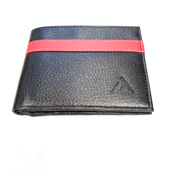 Ace Red Stripe Leather Bi-fold Wallet