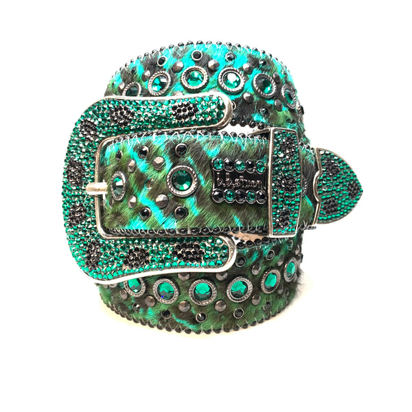 b.b. Simon Wild Emerald Pony Hair Swarovski Crystal Belt