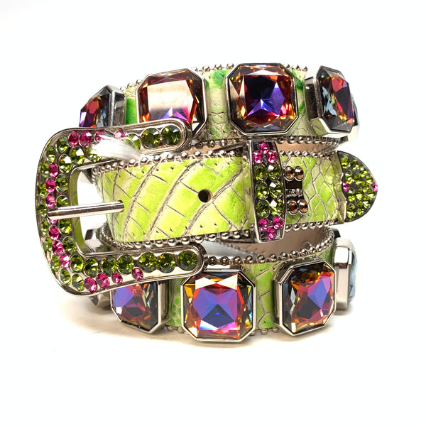 b.b. Simon Lime Monster Two Tone Big Block Swarovski Crystal Belt