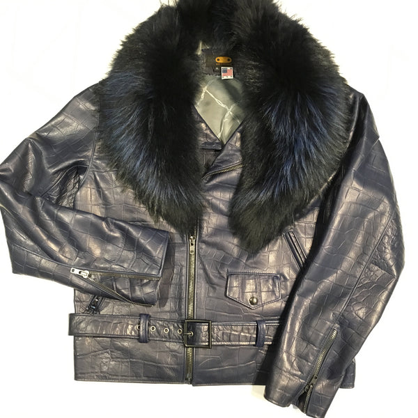 G-Gator Alligator Print Lambskin Moto Jacket w/ Full Fox Collar - Dudes Boutique