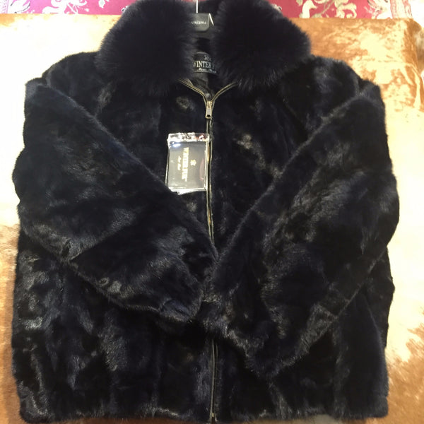 Winter Fur Diamond Mink Jacket w/ Fox Collar - Dudes Boutique - 2