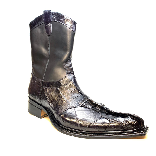 "Mauri ""42730"" Black Horn-Back Crocodile Ankle Boot - Dudes Boutique"